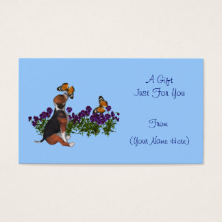 Beagle Butterflies Cute Personalized Gift Card Tag