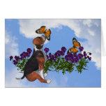 Beagle Butterflies Flowers Animal Card