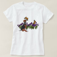 Beagle Butterflies Flowers Cute Dog T Shirt