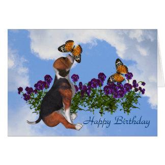 Beagle Butterflies Pansies Cute Birthday Card