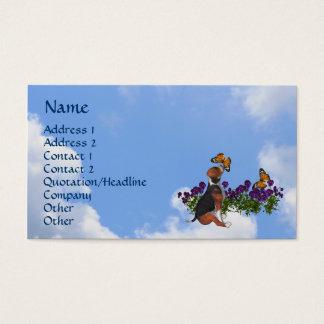 Beagle Butterflies Pansies Cute Business Card