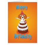 beagle - cake - happy birthday greeting card