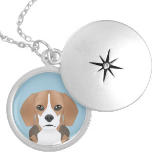 Beagle cartoon round locket necklace