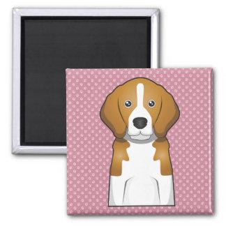 Beagle Cartoon Paws 2 Inch Square Magnet