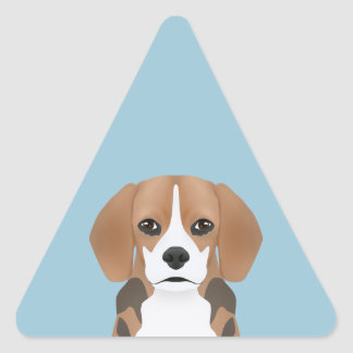 Beagle cartoon triangle sticker