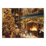 Beagle Christmas Card Fireplace