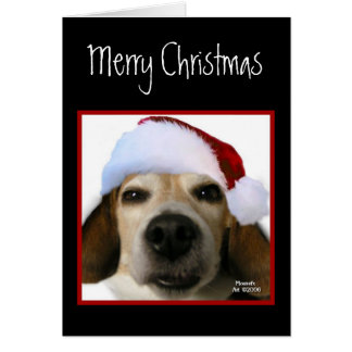 Beagle Christmas Card (Santa Hat)