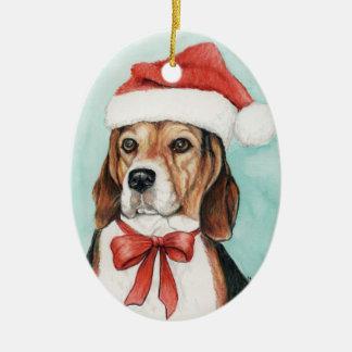 Beagle Christmas Dog Art Ornament