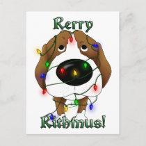 Beagle Christmas Lights Holiday Postcard