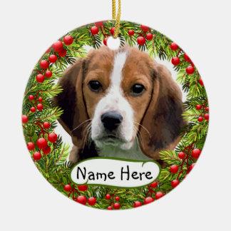 Personalized Beagle Christmas Ornament Decorating the Christmas Tree · Personalized Beagle Christmas Ornament with Christmas Berries