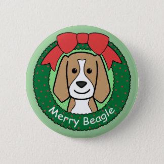 Beagle Christmas Pinback Button
