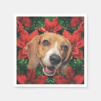 Beagle Christmas Poinsettias Paper Napkin