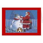 Beagle Christmas Santa and Snowman Greeting Card
