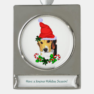 Beagle Christmas Silver Plated Banner Ornament