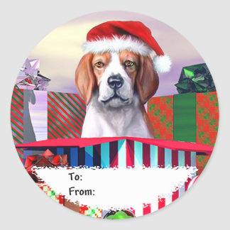 Beagle Christmas Surprise Gift Tags Stickers