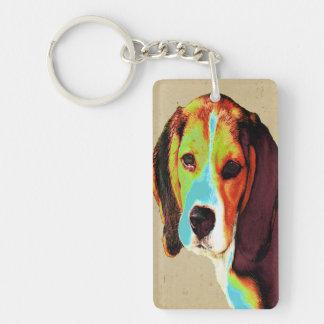 Beagle coloreado Digital Llavero Rectangular Acrílico A Una Cara
