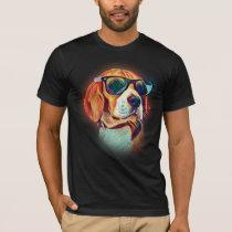 Beagle Colorful Neon Dog Sunglasses T-Shirt