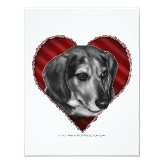 """Beagle con el corazón invitación 4.25"""" x 5.5"""""""