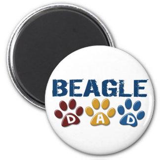 BEAGLE DAD Paw Print 2 Inch Round Magnet
