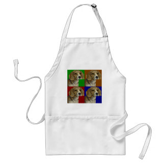 Beagle Dark Primary Color Collage Adult Apron