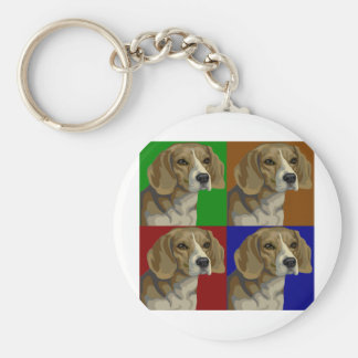 Beagle Dark Primary Color Collage Basic Round Button Keychain