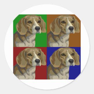 Beagle Dark Primary Color Collage Classic Round Sticker