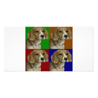 Beagle Dark Primary Color Collage Photo Card