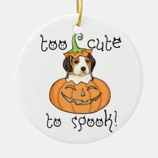 Beagle de Halloween Adorno Navideño Redondo De Cerámica