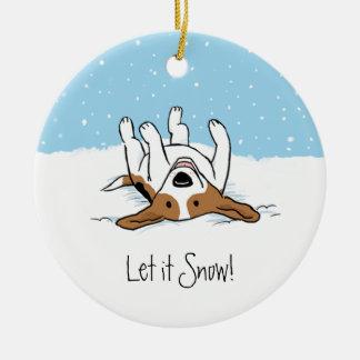 Beagle de la nieve adorno navideño redondo de cerámica