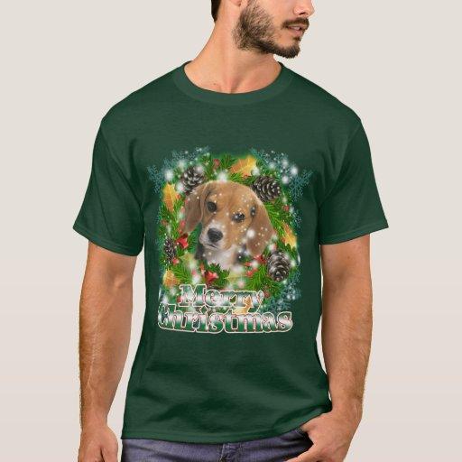 Beagle de las Felices Navidad Playera