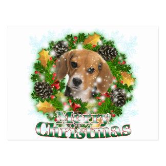 Beagle de las Felices Navidad Tarjetas Postales