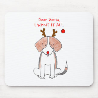 Beagle Dear Santa Mouse Pad