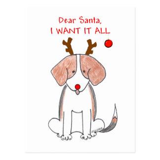 Beagle Dear Santa Postcard