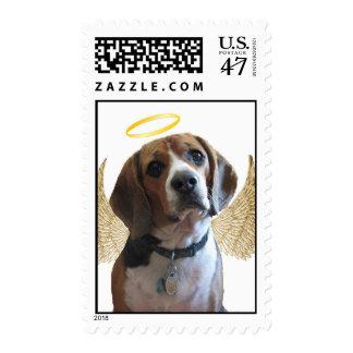 Beagle del ángel timbre postal