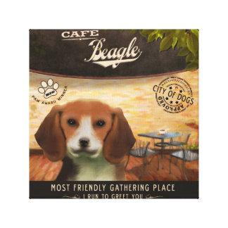 Beagle del café impresión en lona estirada