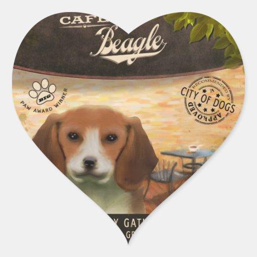 Beagle del café pegatina en forma de corazón