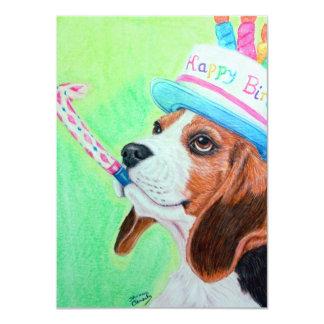 """Beagle del cumpleaños invitación 4.5"""" x 6.25"""""""