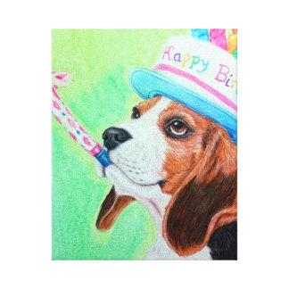 Beagle del cumpleaños lona envuelta para galerias