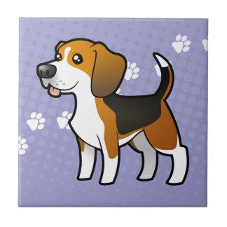 Beagle del dibujo animado azulejo cuadrado pequeño