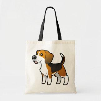 Beagle del dibujo animado bolsa tela barata