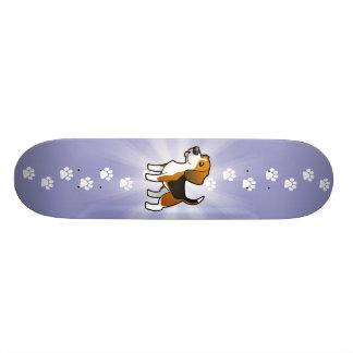 Beagle del dibujo animado skateboards