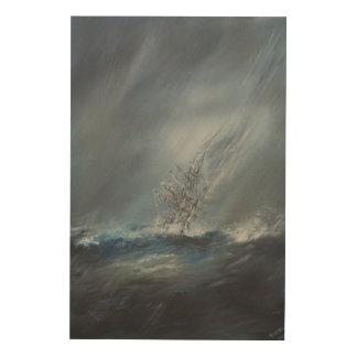 Beagle del HMS en tormenta el cabo de Hornos del Impresión En Madera
