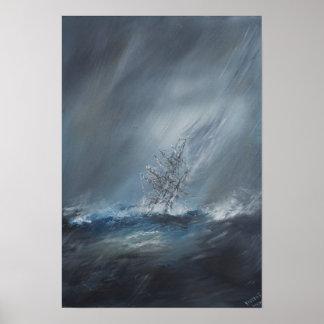 Beagle del HMS en tormenta el cabo de Hornos del Póster