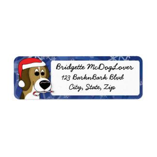Beagle del navidad etiquetas de remite