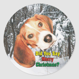 Beagle Did You Say Merry Christmas? Stickers