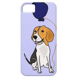 Beagle divertido que sostiene el globo funda para iPhone 5 barely there