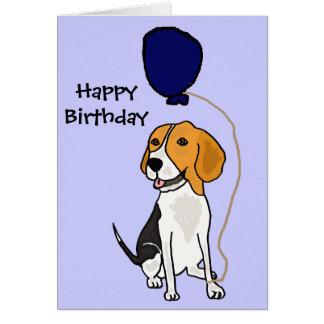 Beagle divertido que sostiene el globo tarjeta de felicitación