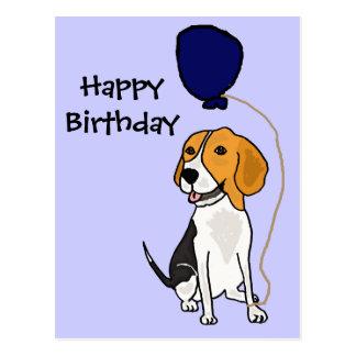 Beagle divertido que sostiene el globo tarjeta postal