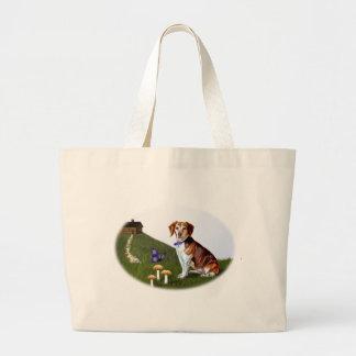 Beagle Dog and Cabin on Hill Jumbo Tote Bag
