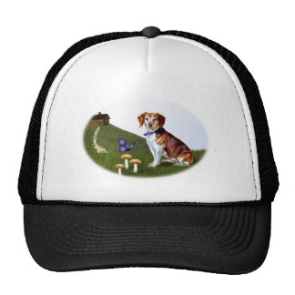 Beagle Dog and Cabin on Hill Trucker Hat